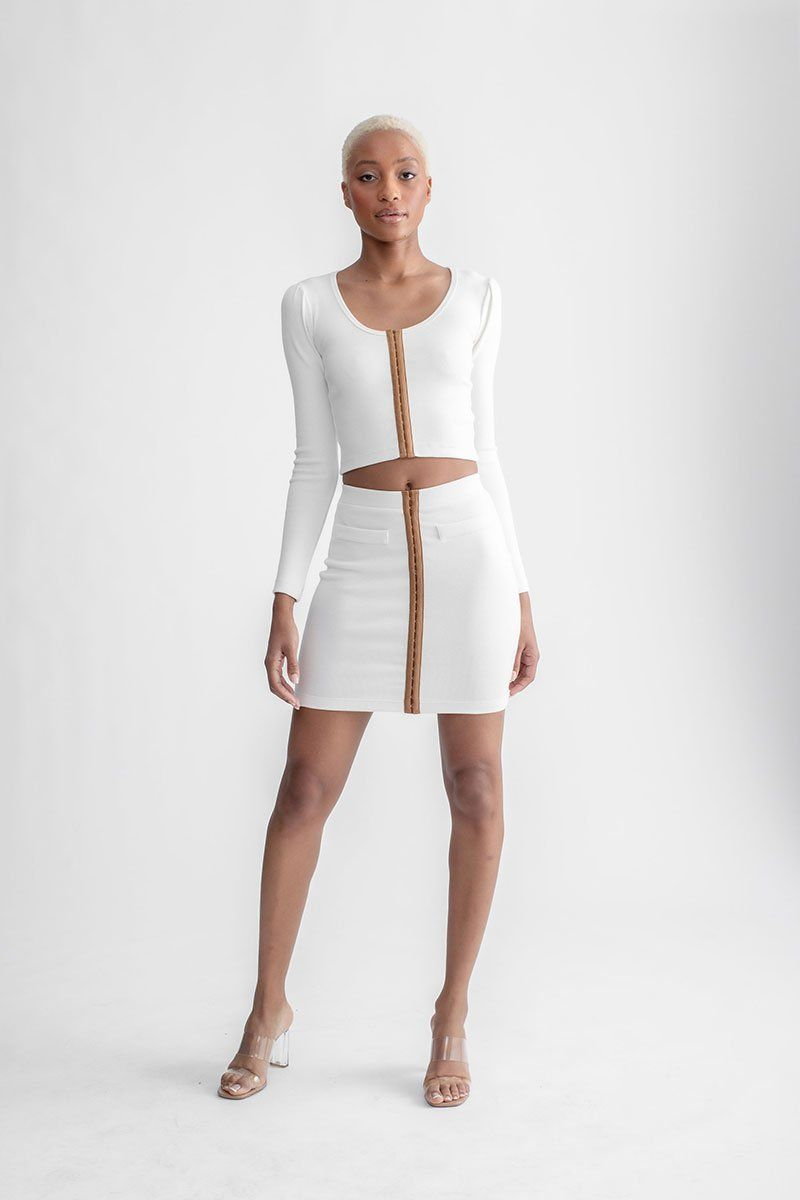 Hook & Eye Mini Skirt Ivory