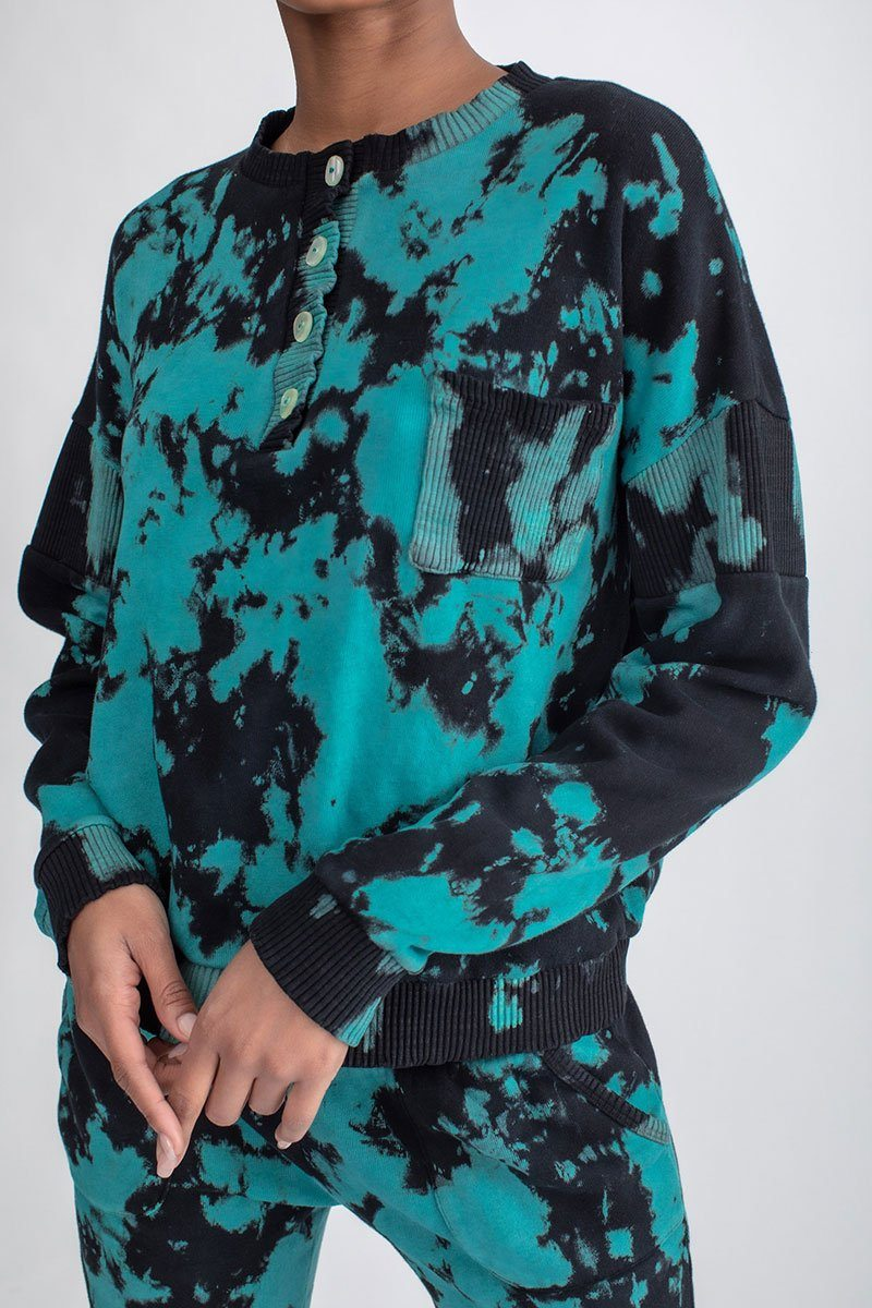 Oversized Pocket Henley Tie Dye