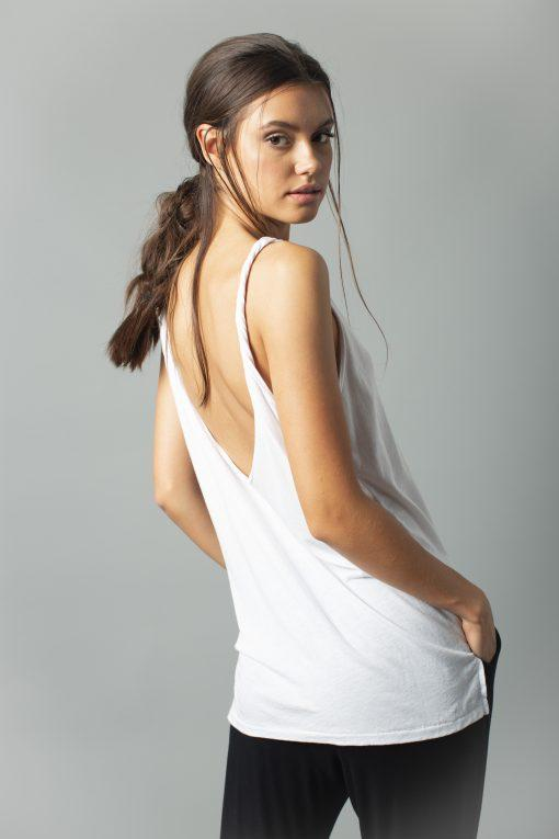 Tank Top - Casual Twisted Hi-Lo Tank Top - Micromodal/Cotton | AMVI Collection