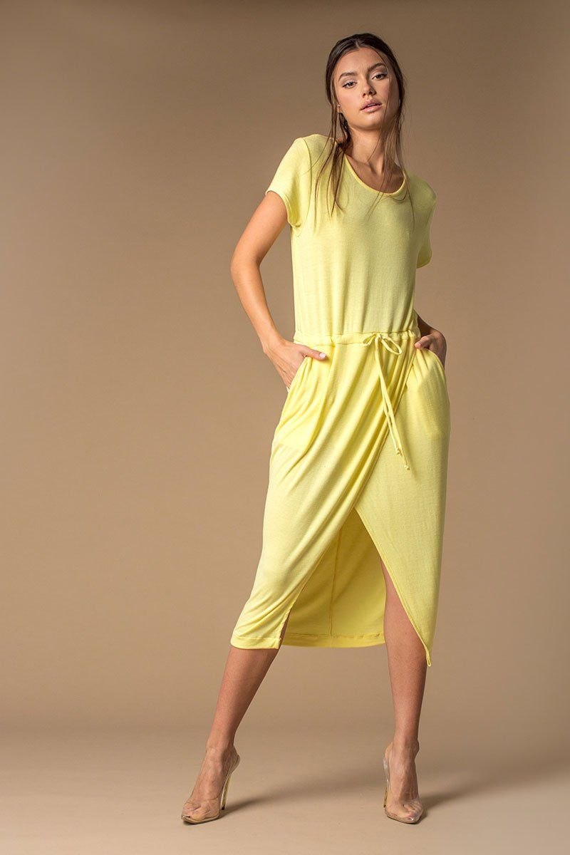 Limonada Short Sleeve Drawstring Dress