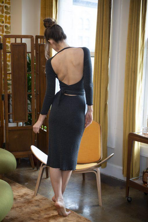 Open Back Wrap Long Sleeve Midi Dress