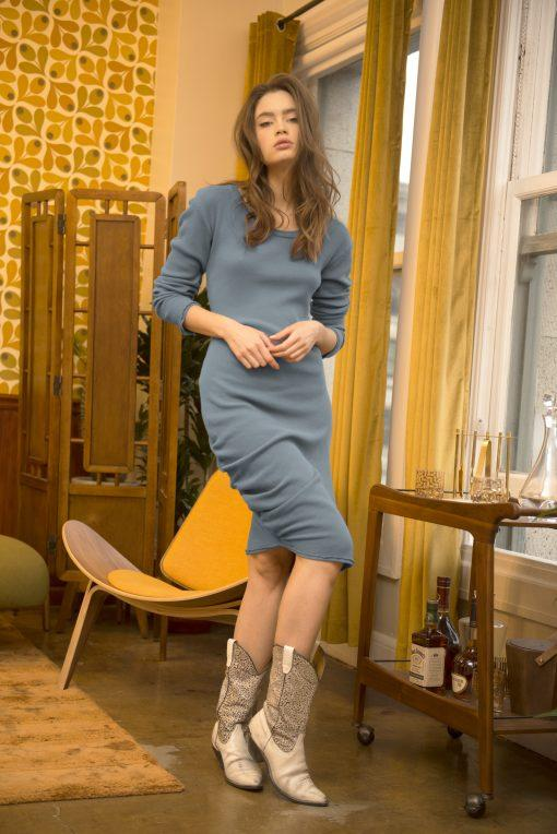 Long Sleeve Dress - Casual Midi Shirred Dress Thermal | AMVI Collection