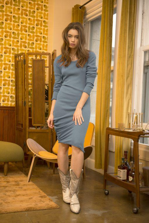 Long Sleeve Midi Shirred Thermal Dress