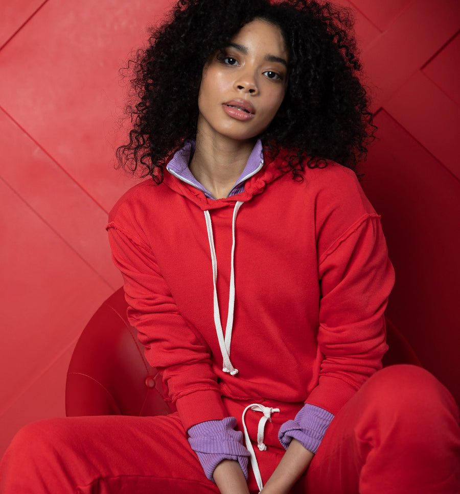 Red Relaxed Hoodie