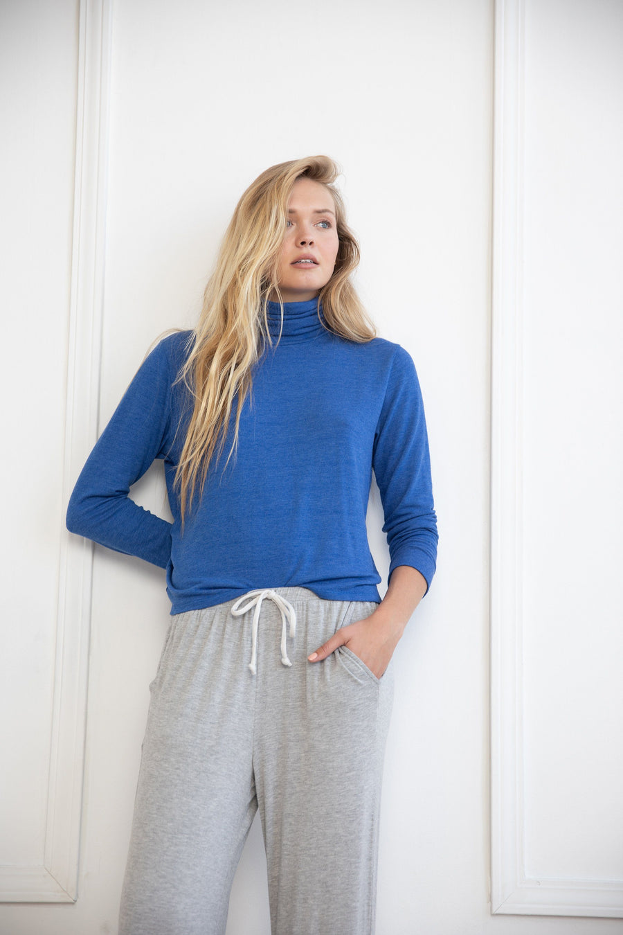 Blue Long Sleeve Relaxed Turtleneck