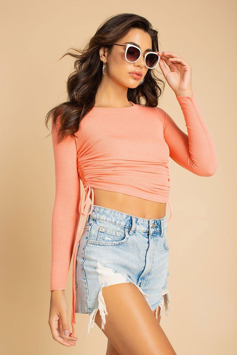 Cantaloupe Ruched Side Long Sleeve Top