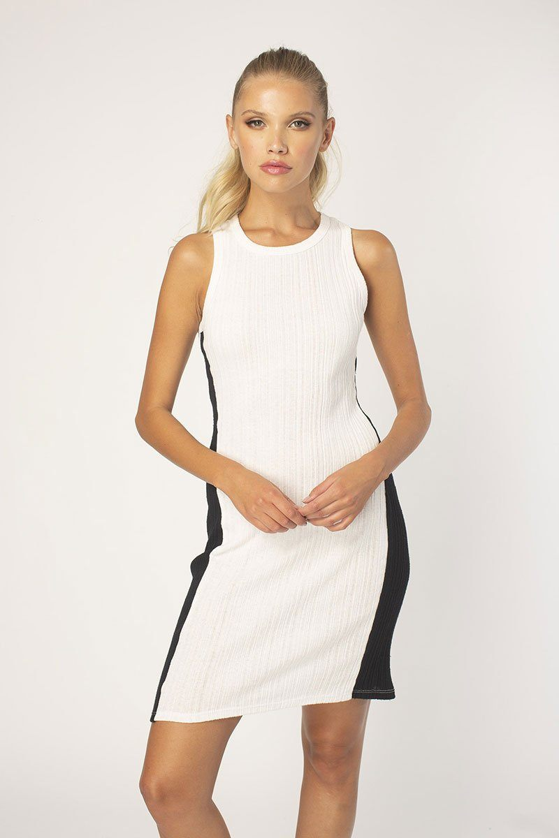 Whit/Black Blocked Tank Dress