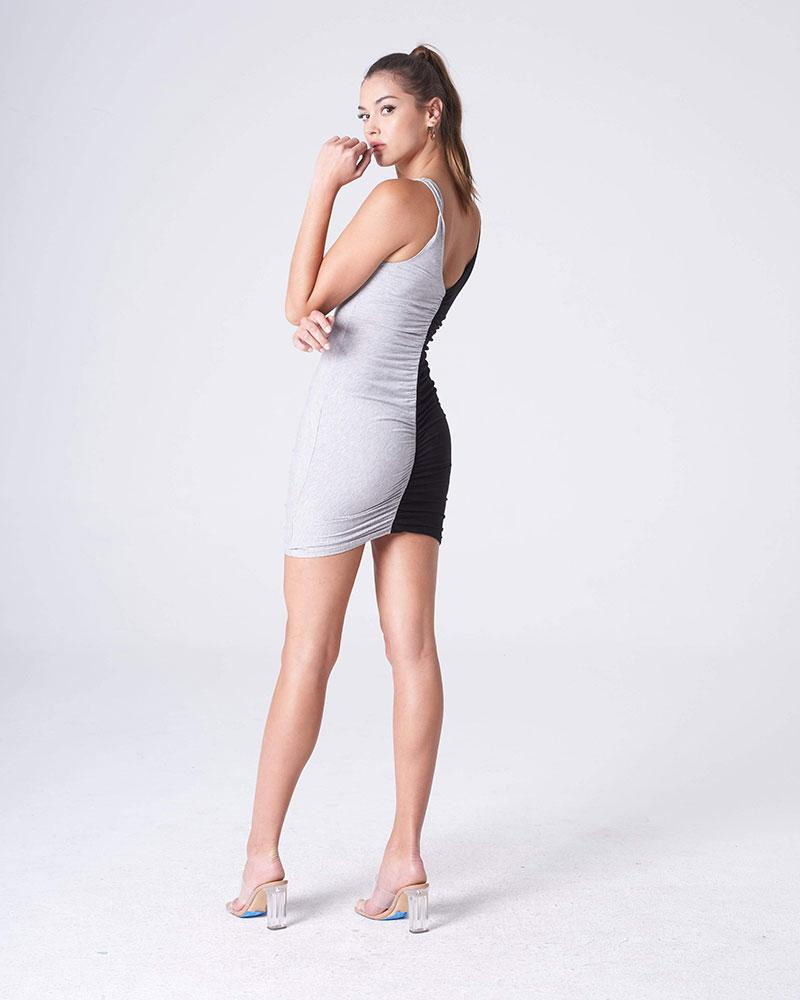 Black/Grey Ruched Front Tank Dress