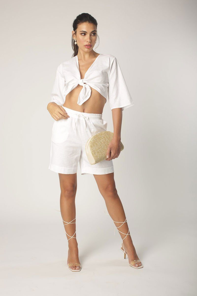 White Loose Fitted Linen Short