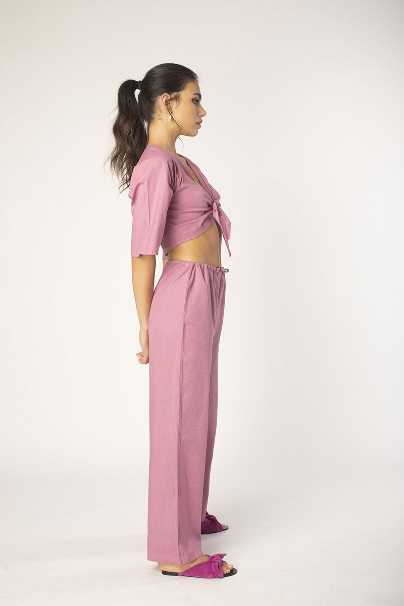 Cassis Drawstring Linen Pant