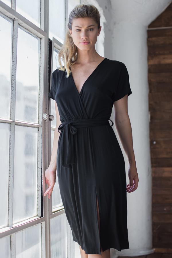 Black Dress -  Casual Rayon Faux Wrap Dress - Short Sleeve Dress, V Neck, Belted | AMVI Collection
