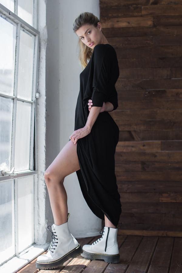 Oversized Long Sleeve V Neck Dress - AMVI Collection