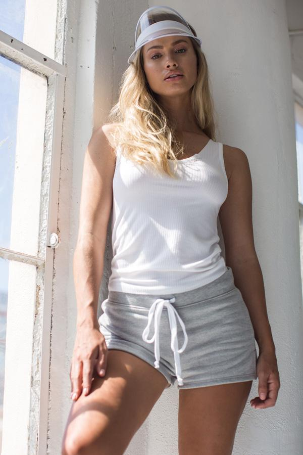 Heather Grey Side Casual Side Slit Shorts