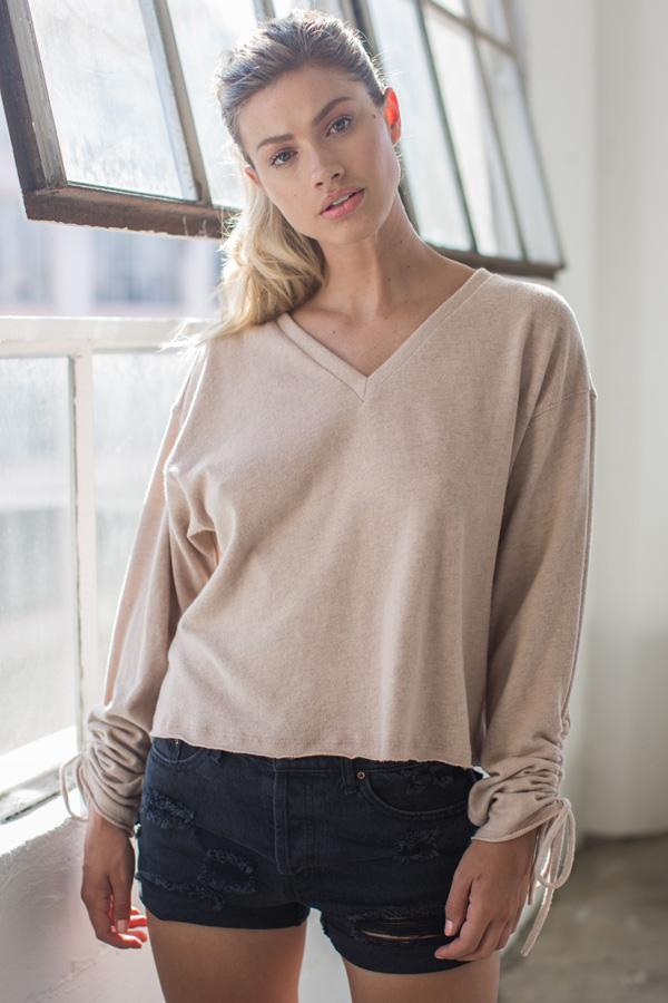 Long Sleeve Top - Casual Ruched - V Neck, Easy Fit Top | AMVI Collection