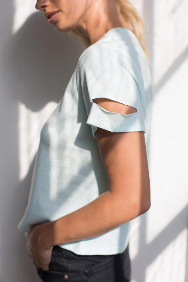 Mint Deconstructed Crew Neck Top