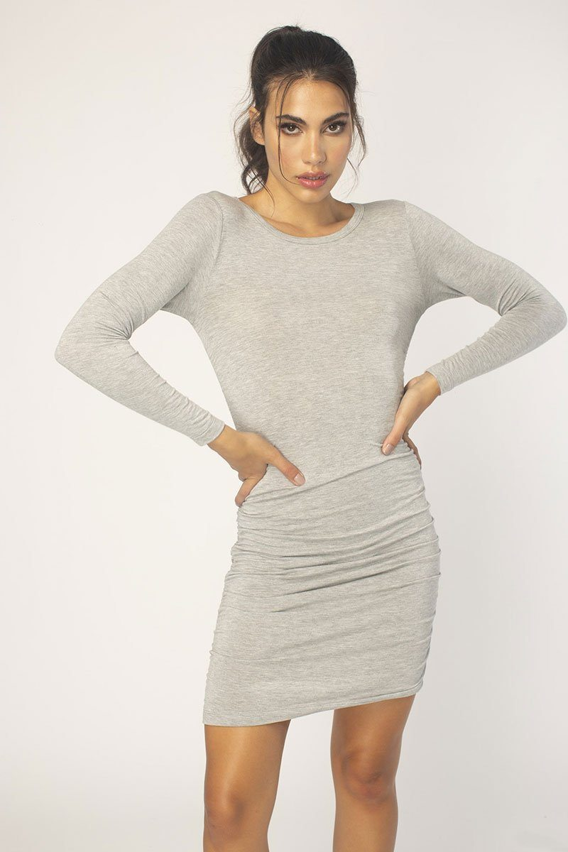 Heather Grey Ruched Side Dress