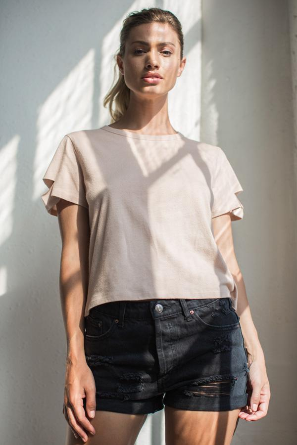 Nude Deconstructed Crew Neck Top