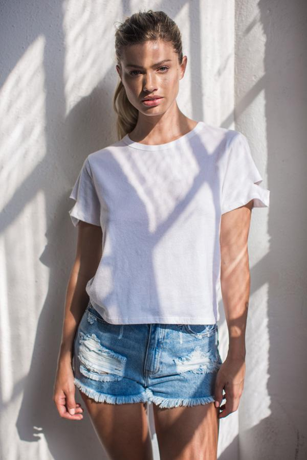 Top - Casual Deconstructed Short Sleeve Crew Neck Top | AMVI Collection