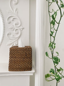 Rattan and Wood Tissue Cover