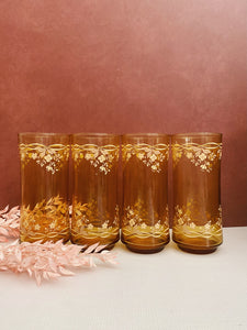 Set of 4 Amber Floral Glasses