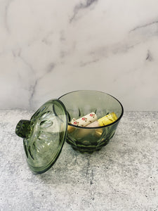 Green Glass Dish with Lid
