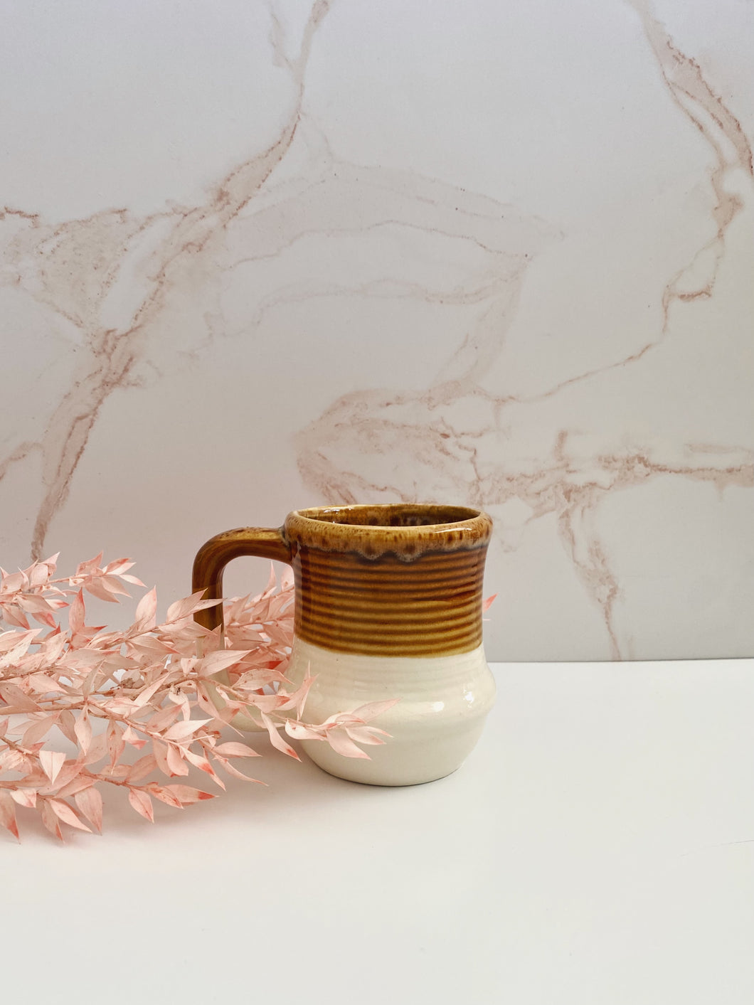 Two-Toned Beige and White Mug
