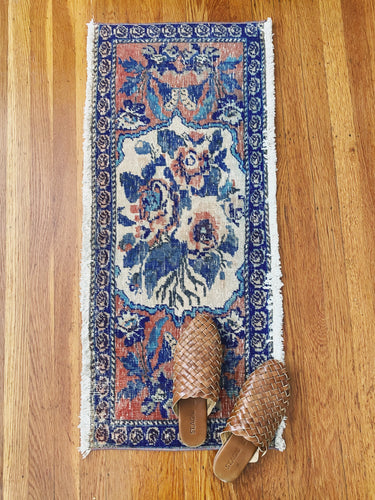 Cobalt and Peach Floral Runner
