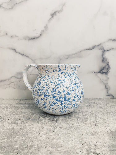 Blue and White Speckled Pitcher