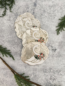 Holiday Swan Coasters