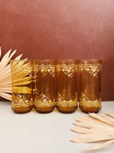 Load image into Gallery viewer, Set of 4 Amber Floral Glasses