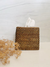 Load image into Gallery viewer, Rattan and Wood Tissue Cover