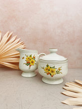 Load image into Gallery viewer, Yellow Flower Creamer and Sugar Bowl