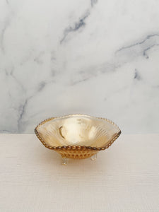 Orange Iridescent Pedestal Dish