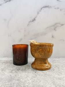 Brown Marbled Pedestal Dish