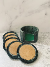 Load image into Gallery viewer, Green Marble Coaster Set