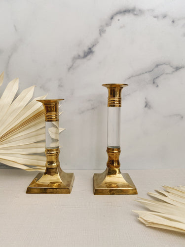 Brass and Lucite Candlestick Holders