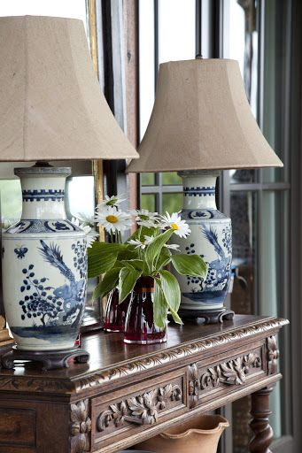 Oriental Interior Design - Oriental Lamp Shade - blue and white Chinese porcelain lamps