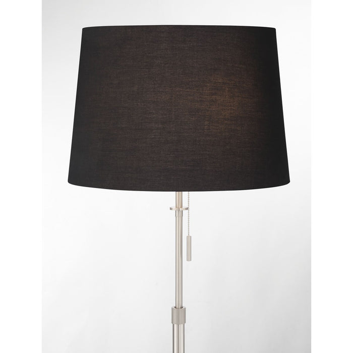 X3 Floor Lamp in Satin Nickel with Black Shade