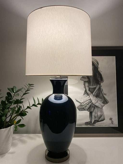 Navy Blue Glass Table Lamp