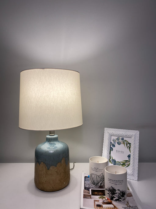 Rustic Natural + Blue Glaze Table Lamp