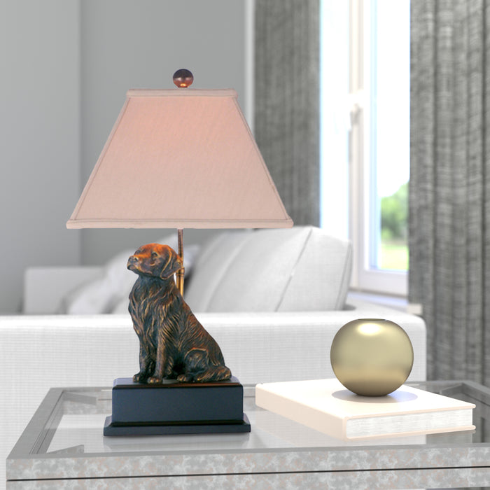 Bronze Golden Retriever Table Lamp