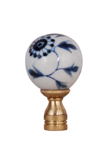 * Blue & White Daisy Flower Porcelain Finial
