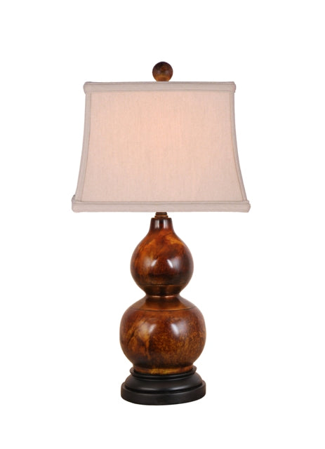 Solid Jade & Brass Trim Ring Two Gourd Table Lamp