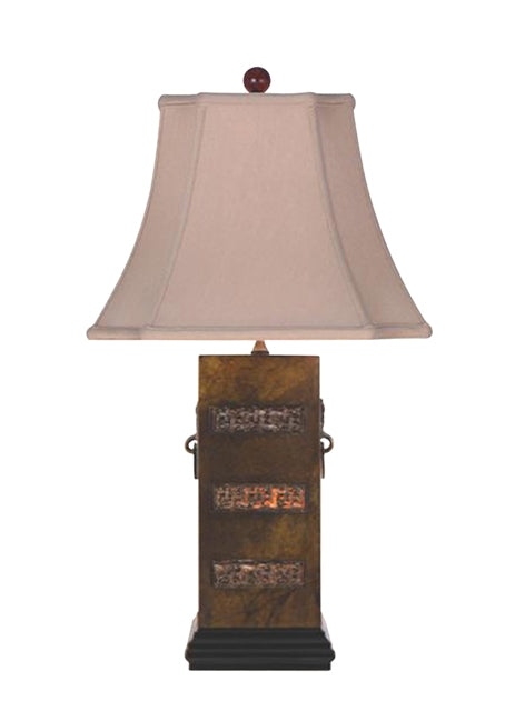 Solid Bronze Inlay Jade Table Lamp Lined With Rice Paper
