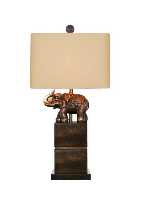 Solid Casting Brass Elephant Jade Base Table Lamp