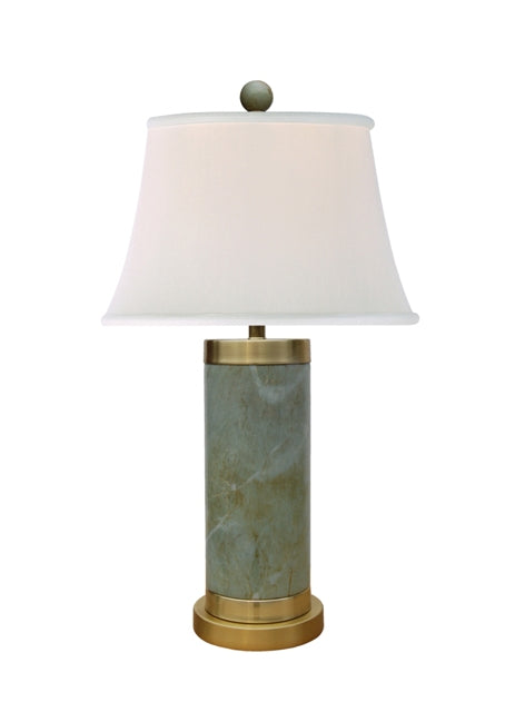 Franklin Jade Table Lamp with Solid Brass Base & Cap