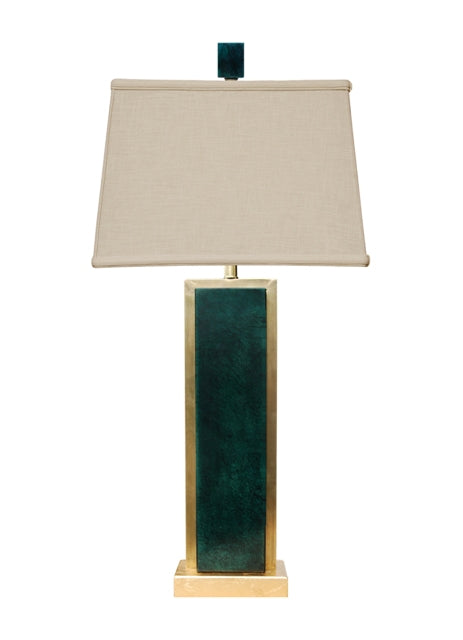 Dark Green Rectangle  Jade Table Lamp