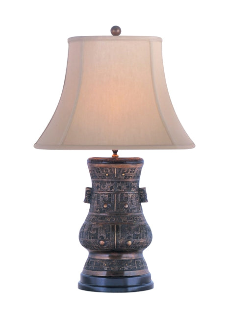 Solid Casting Bronze Oval Urn Table Lamp