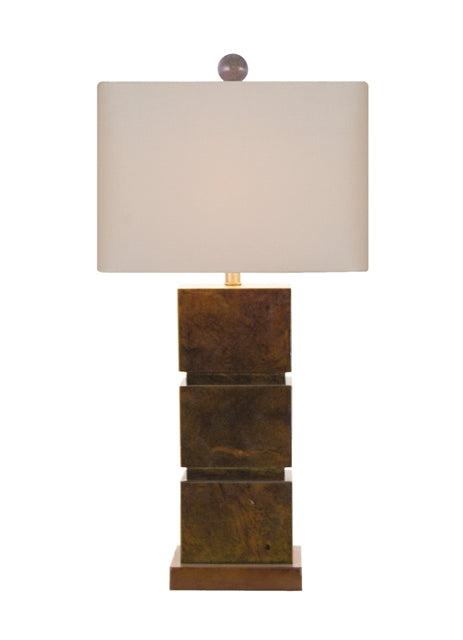 Square Jade Table Lamp With Matching Rectangle linen Lamp Shade