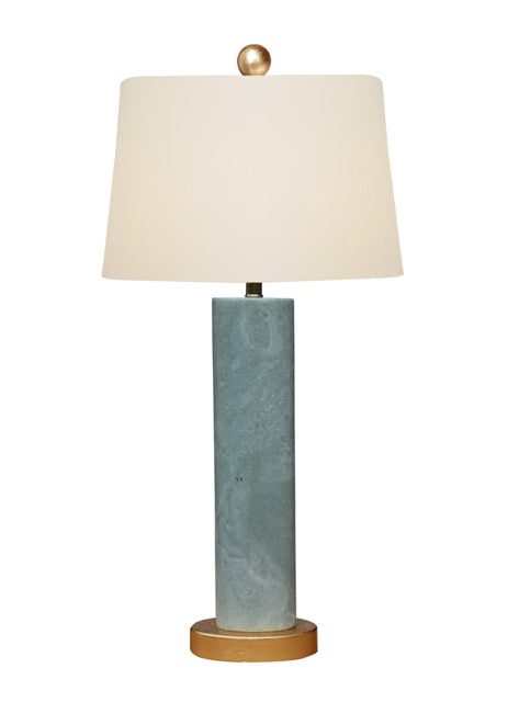 Green Jade Table Lamp with Gold Leaf Base